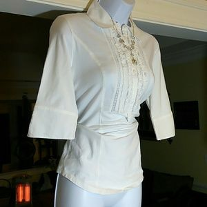 CAbi ladies white ruffled blouse